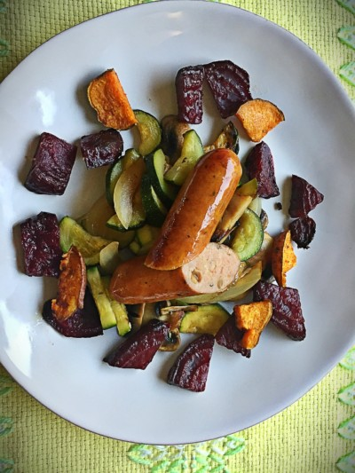 Apple Chicken Sausage with Mixed Vegetables and Roasted Beets