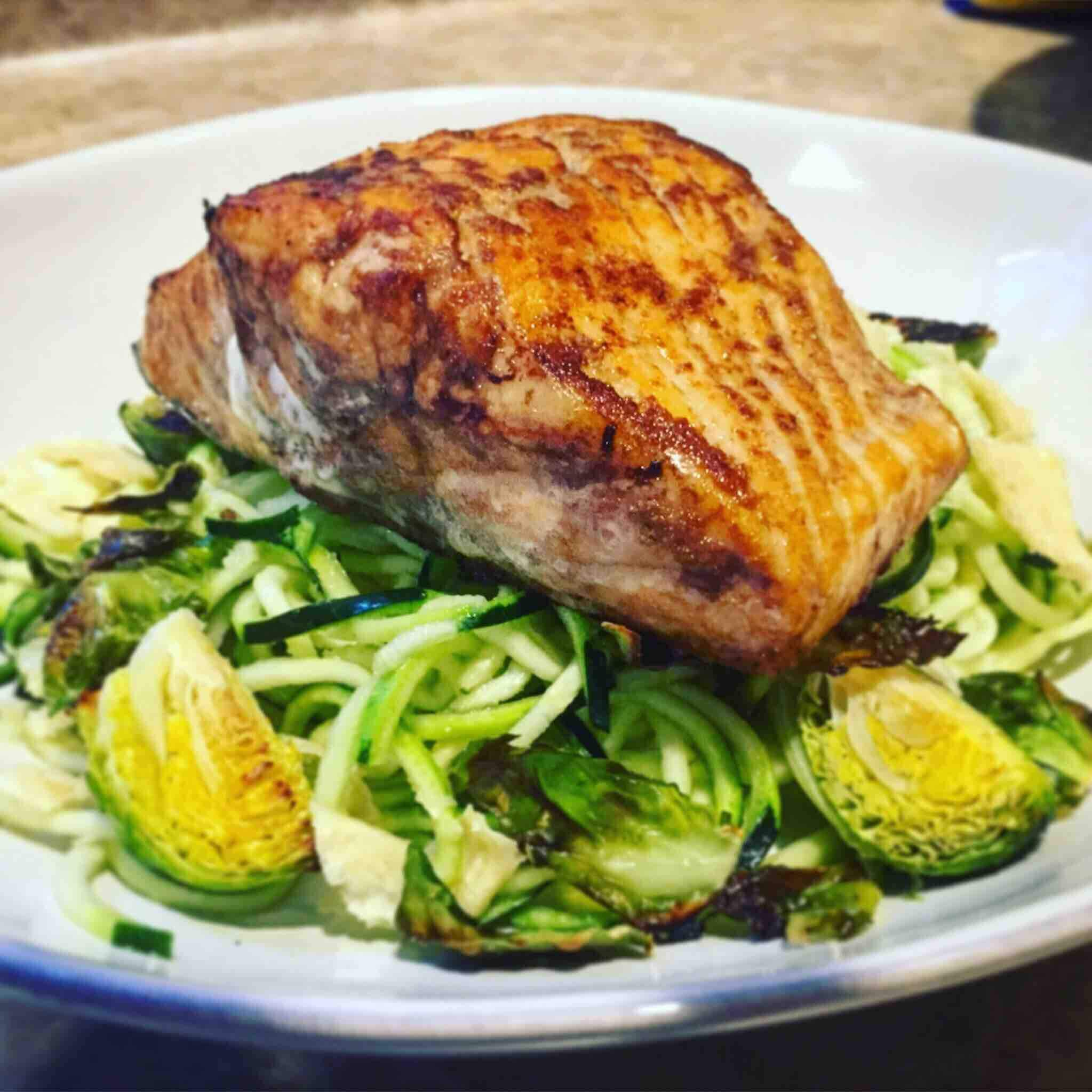 Asian Seared Salmon with Zucchini Noodles & Roasted Veg