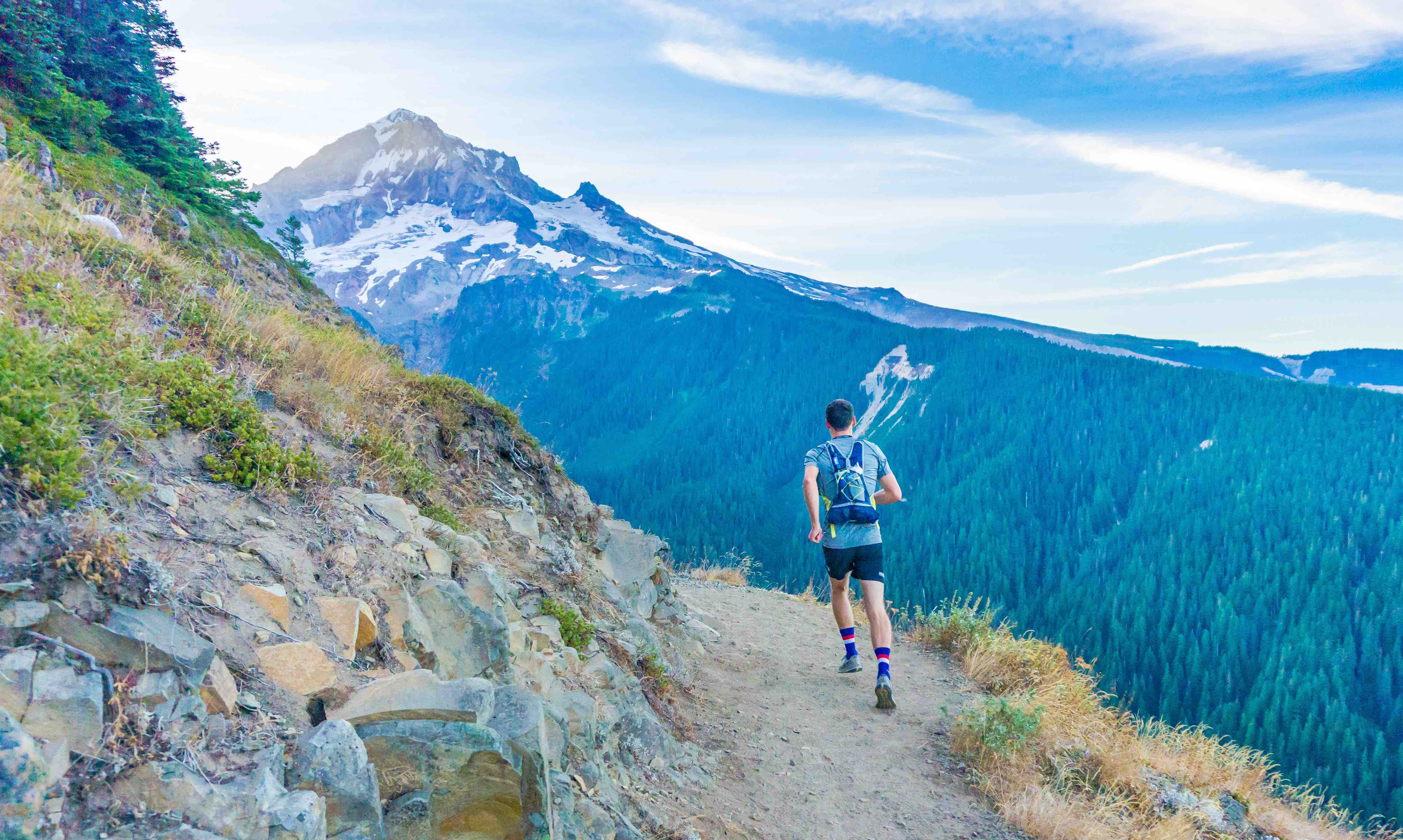 Trail runner in mountains